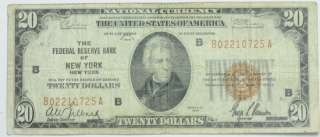 1929 $20 TWENTY DOLLAR US FEDERAL RESERVE BANK PAPER CURRENCY P234002