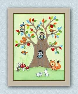 Treetop Forest Friends, Owl bedding coordinates, baby, nursery art