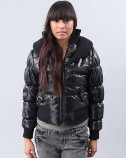 WOMENS LUXIRIE BY LRG BOMBER PUFFER JACKET BLACK SMALL S MEDIUM M