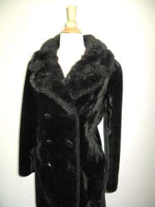 Vtg Union Made Faux Fur Fitted Full length Winter Coat jacket warm