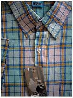 INDIA Mens Preppy Pastel Plaid Natural Cotton Shirt L