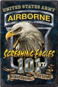 US Army Airborne   Screaming Eagles Metal Sign