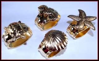 Turnwald Set 4 GOLD Napkin Rings Sealife Assorted NIB