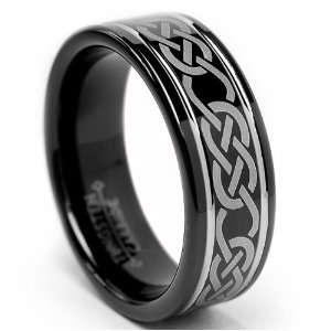 8MM Black CELTIC Tungsten Carbide Ring Wedding Band Size 8