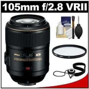 Nikon 105mm f/2.8 G VR AF S Micro Nikkor Lens + UV Filter