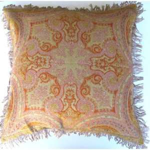 Reversible Merino Wool Kalam Paisley Pillow Cushion Red