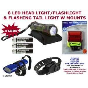 VAS 8 LED CAMOUFLAUGE (CAMO) Head Light/Flashlight w Bike