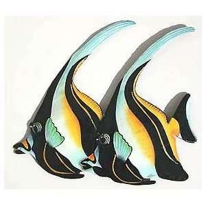Moorish Idols Tropical Fish Wall Art   Painted Metal Fish