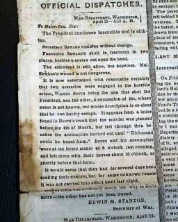 1865 ABRAHAM LINCOLN ASSASSINATION Civil War Ending in New York Times