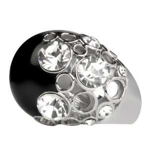 Trixie Black Crystal Cocktail Ring (6) Jewelry