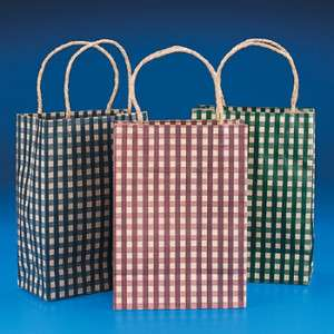 COUNTRY GINGHAM PAPER GIFT BAGS (LOT OF 12PC) Assorted