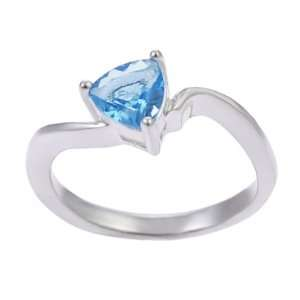 Sterling Silver Blue Topaz Trillion Cut Solitaire Ring Jewelry