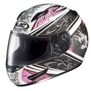 HJC CL 15 Draco MC 8 Full Face Motorcycle Helmet White/Pink/Silver XXL