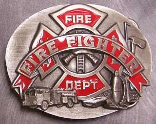 Pewter Belt Buckle Fire Department Firefighter NEW
