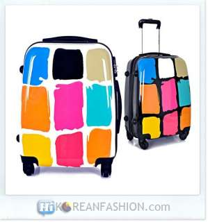 Colorful Cute Luggage Unisex Carry on Travel Bag NEW White 24