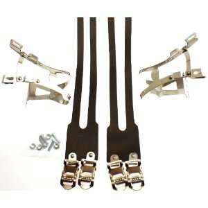 CKC Road/Track Bike Steel Clips Lg/ Leather Straps  Sports