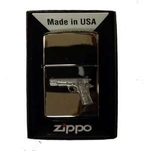 Zippo Custom Lighter   9mm Semi Automatic Pistol GUN Emblem Logo
