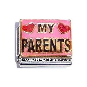 Love My Parents Italian Charm Bracelet Jewelry Link