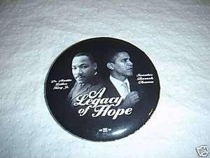 Senator OBAMA & Martin Luther King Photo Button   New