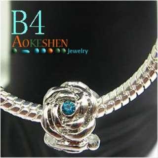 Blue Flower Metal Spacer Bead fit Charm Bracelet B4
