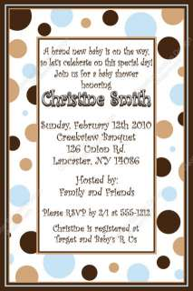 Blue & Brown Dots Digital Baby Shower Invitation