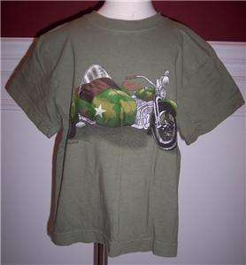 Flapdoodles Boys Camo Cycle Motorcycle Shirt Top Sz 6