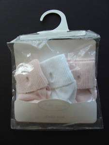 NWT 3PK Baby Pink & White RALPH LAUREN Layette Socks