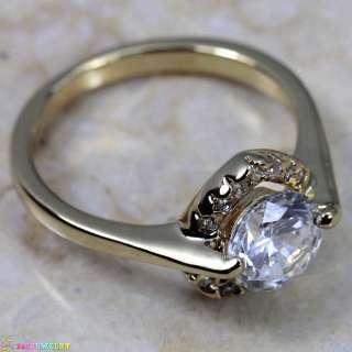 WHITE TOPAZ GEMSTONE SILVER18K GOLD RING K70 SIZE8.75
