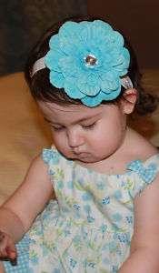Baby Girl Large 4.5 Light Blue Bling Flower Headband