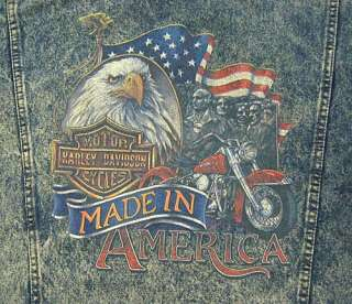 Mens M   Blue   100% Cotton   Harley Davidson brand (made in ?)