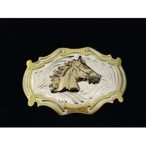 Western Cowboy Gold and Silver Finishing Belt Buckle