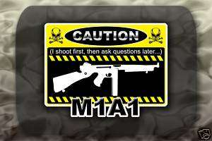 M1A1 Thompson SMG Gun decal sticker Caution