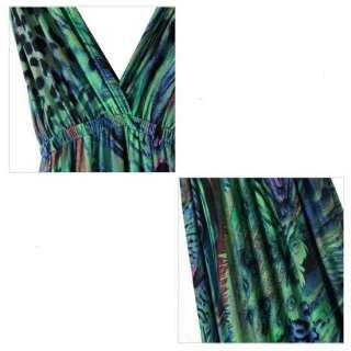 Sexy V neck Ethnic peacock long maxi dress new Bohemian dress ML2a