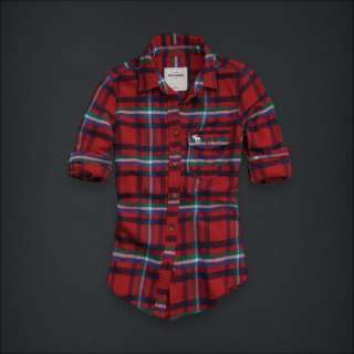 NWT Abercrombie Kids Girl XL Bright Red Plaid Shirt Top
