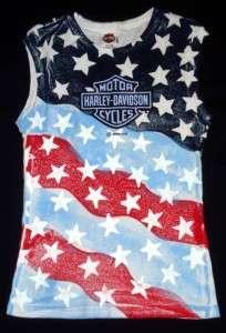 XL Womens HARLEY DAVIDSON Shirt US FLAG SANTA BARBARA