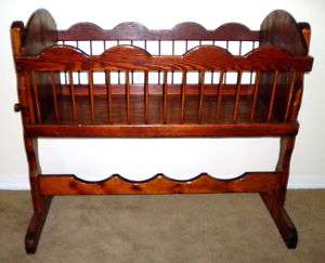 STUNNING!!! Vintage Deep Wood Bassinet Rocking Cradle