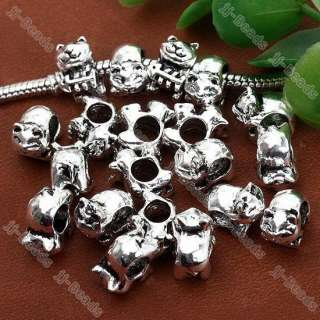 20pc White Gold Plated Pretty Cat Fish European Bead Fit Charm