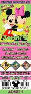 MICKEY & MINNIE MOUSE BIRTHDAY PARTY TICKET INVITATIONS