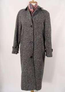 vintage 80s Oversized Black & White Fleck Long Wool Overcoat Dressy