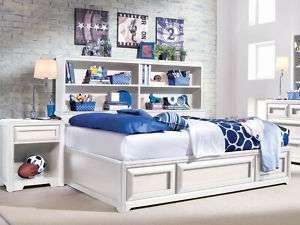 Youth White Full Size Bookcase Platform Bed