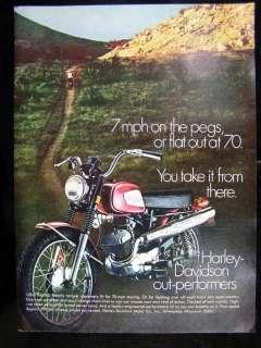 1970 HARLEY DAVIDSON RAPIDO MOTORCYCLES PHOTO AD