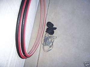 700 x 25 BLACK / RED BIKE TIRES W/TUBES /RIMSTRIPS NEW