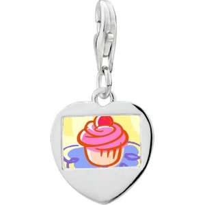 Pugster 925 Sterling Silver Gold Plated Food Cupcake Photo Heart Frame