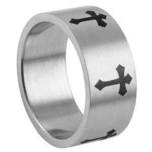 316L Stainless Steel Black Cross Design Ring   Size 8 Jewelry