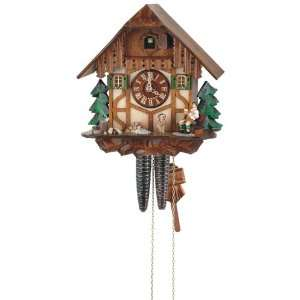 Cuckoo Clock Black Forest house with wood chopper