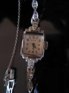 Art Deco Elgin 32 Real Diamond 14K Solid White Gold Wrist Watch