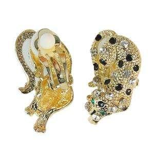 37 Leopard Necklace Earring Set Clear Swarovski Crystal Animal Panther