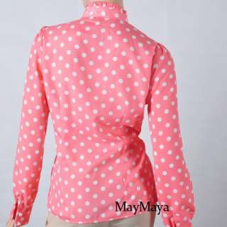 Clothes Ruffle Front high neck polka dot Print Top Shirt Blouse
