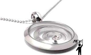 New 14k White Gold Circle Floating Happy Diamond Round Pendant