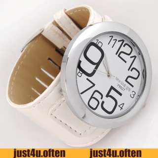 White Leather Band Womens Lady Quartz Wristwatch Very Big Dial Black
